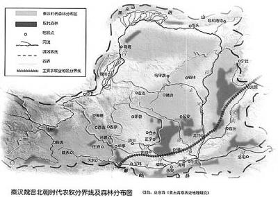 这张历史时期农牧分界线及森林分布图反映了我国北方环境的变迁。资料图片