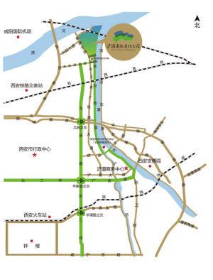 西安�哄惫�家湿地公园交通区位示意图