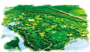 西安�哄惫�家湿地公园鸟瞰图