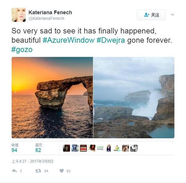 """风光圣地一大损失 马耳他""""蔚蓝之窗""""崩塌"""